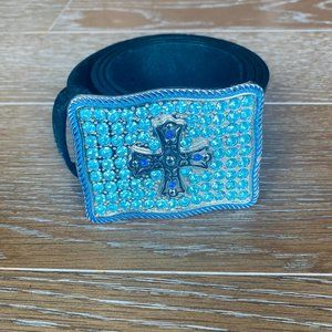 Express Cross Buckle Leather Belt   M